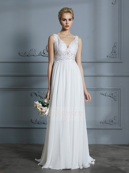 A-Line/Princess Sleeveless Chiffon Sweep/Brush Train V-neck Wedding Dresses 71021
