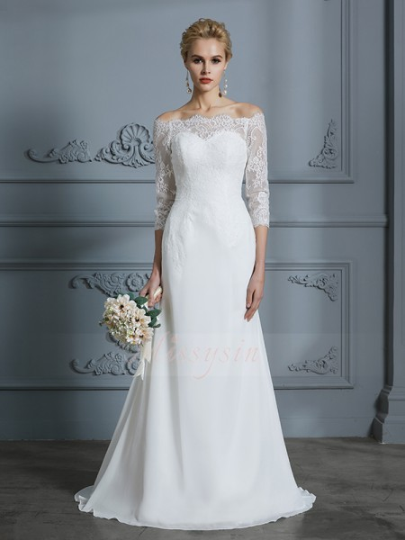 Trumpet/Mermaid 1/2 Sleeves Chiffon Sweep/Brush Train Off-the-Shoulder Wedding Dresses 71023