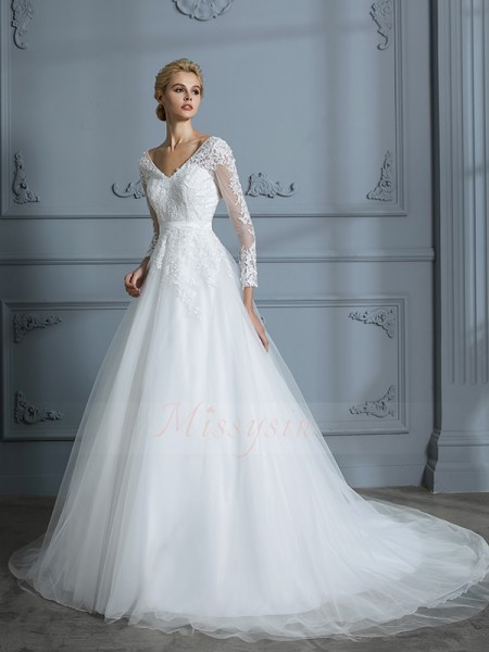 Ball Gown Long Sleeves Tulle Court Train V-neck Wedding Dresses 71026