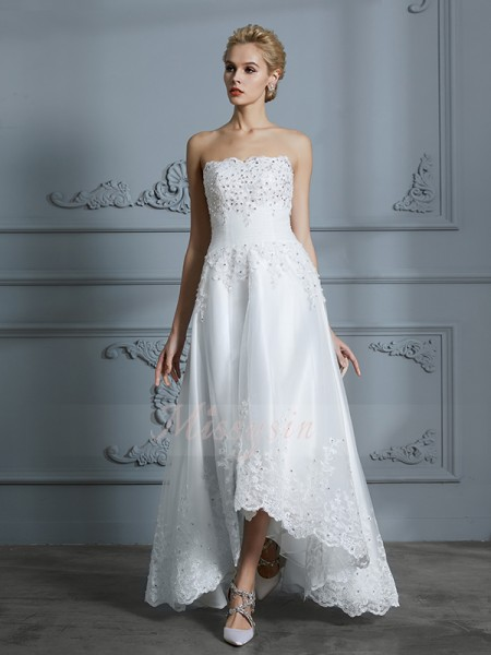A-Line/Princess Sleeveless Tulle Asymmetrical Sweetheart Wedding Dresses 71028