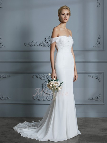 Trumpet/Mermaid Sleeveless Chiffon Sweep/Brush Train Off-the-Shoulder Wedding Dresses 71029