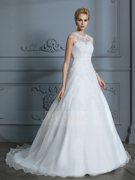 Ball Gown Sleeveless Tulle Court Train Scoop Wedding Dresses 71030
