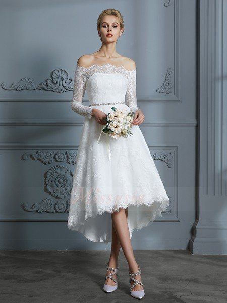 A-Line/Princess Long Sleeves Lace Asymmetrical Off-the-Shoulder Wedding Dresses 71031