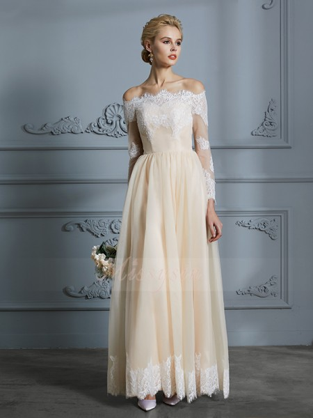A-Line/Princess Long Sleeves Tulle Floor-Length Off-the-Shoulder Wedding Dresses 71032