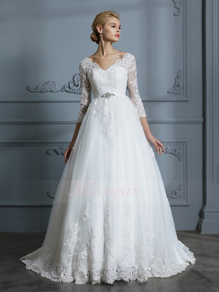 Ball Gown 3/4 Sleeves Tulle Court Train V-neck Wedding Dresses 71033