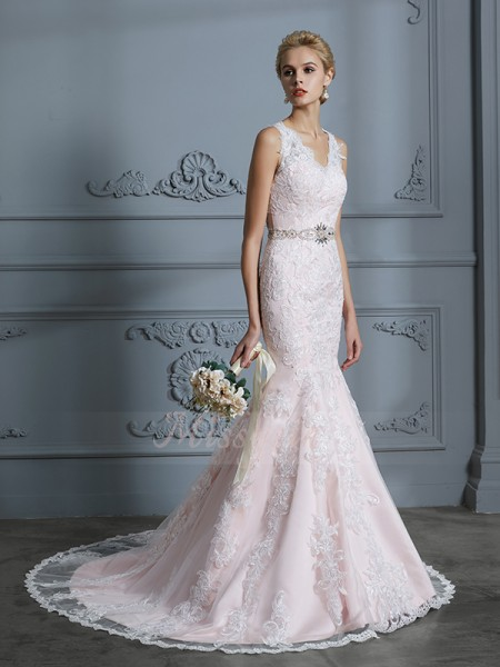 Trumpet/Mermaid Sleeveless Tulle Court Train V-neck Wedding Dresses 71035