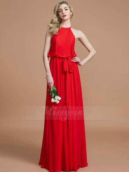 A-Line/Princess Floor-Length Halter Sleeveless Sash/Ribbon/Belt Chiffon Bridesmaid Dresses