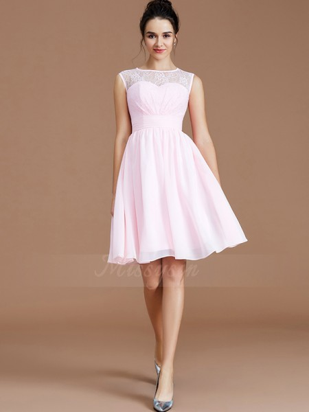 A-Line/Princess Short/Mini Sweetheart Sleeveless Chiffon Bridesmaid Dresses