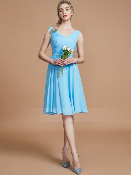 A-Line/Princess Short/Mini V-neck Sleeveless Ruched Chiffon Bridesmaid Dresses