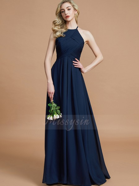 A-Line/Princess Floor-Length Halter Sleeveless Ruched Chiffon Bridesmaid Dresses