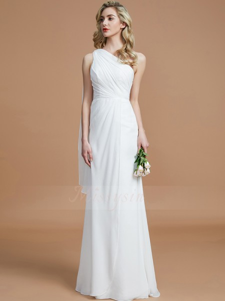 Sheath/Column Floor-Length One-Shoulder Sleeveless Chiffon Bridesmaid Dresses