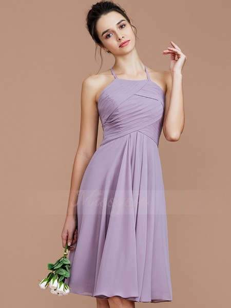 A-Line/Princess Short/Mini Halter Sleeveless Ruched Chiffon Bridesmaid Dresses