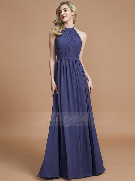 A-Line/Princess Floor-Length Scoop Sleeveless Chiffon Bridesmaid Dresses
