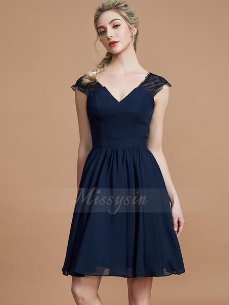 A-Line/Princess Knee-Length V-neck Sleeveless Chiffon Bridesmaid Dresses