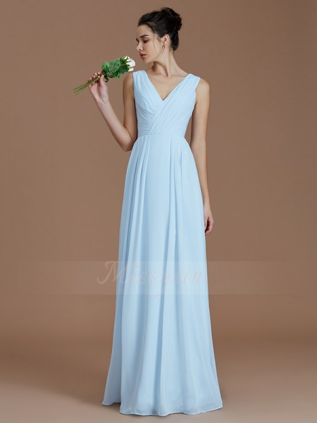 A-Line/Princess Floor-Length V-neck Sleeveless Ruched Chiffon Bridesmaid Dresses
