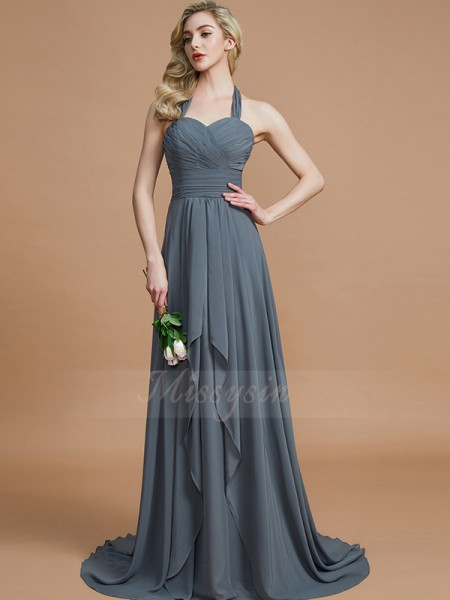 A-Line/Princess Sweep/Brush Train Halter Sleeveless Chiffon Bridesmaid Dresses