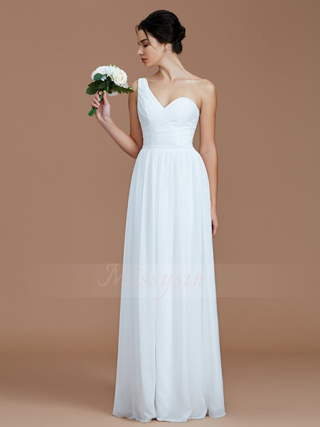 A-Line/Princess Floor-Length One-Shoulder Sleeveless Ruched Chiffon Bridesmaid Dresses