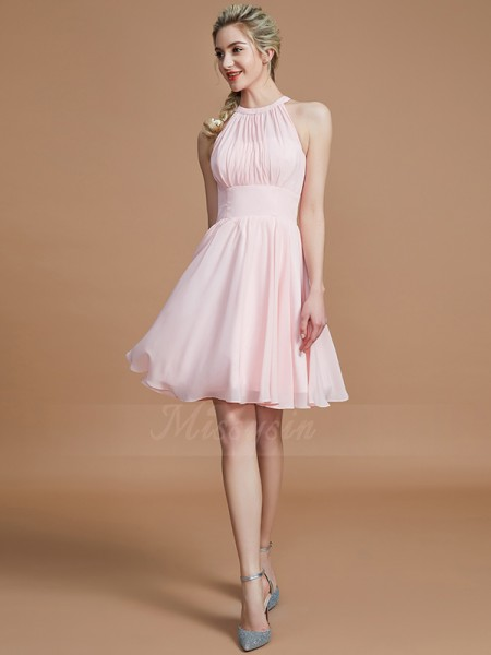 A-Line/Princess Knee-Length Scoop Sleeveless Chiffon Bridesmaid Dresses