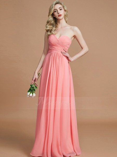 A-Line/Princess Floor-Length Sweetheart Sleeveless Chiffon Bridesmaid Dresses