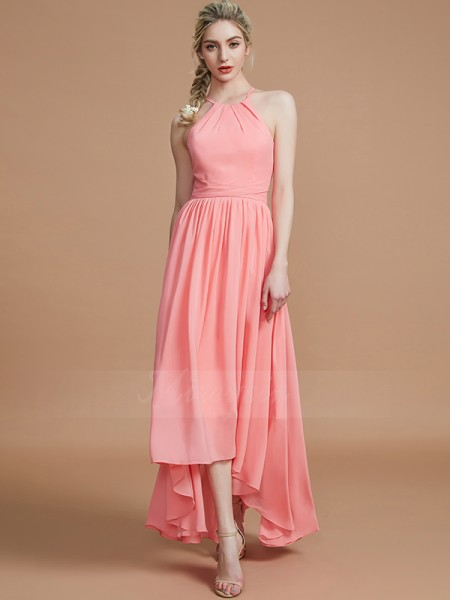 A-Line/Princess Asymmetrical Halter Sleeveless Chiffon Bridesmaid Dresses