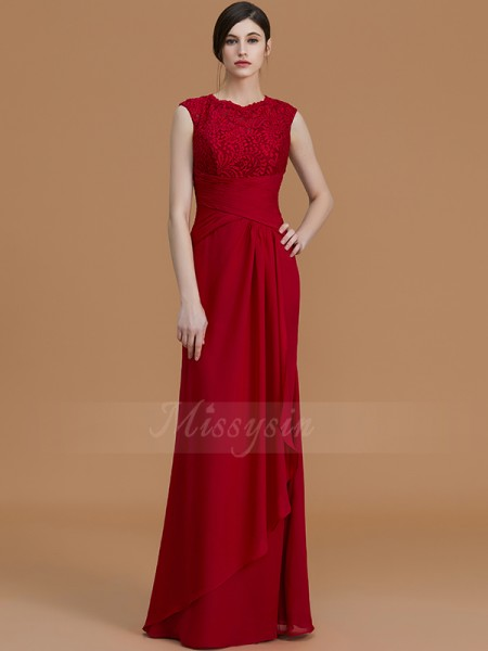 Sheath/Column Floor-Length Jewel Sleeveless Chiffon Bridesmaid Dresses