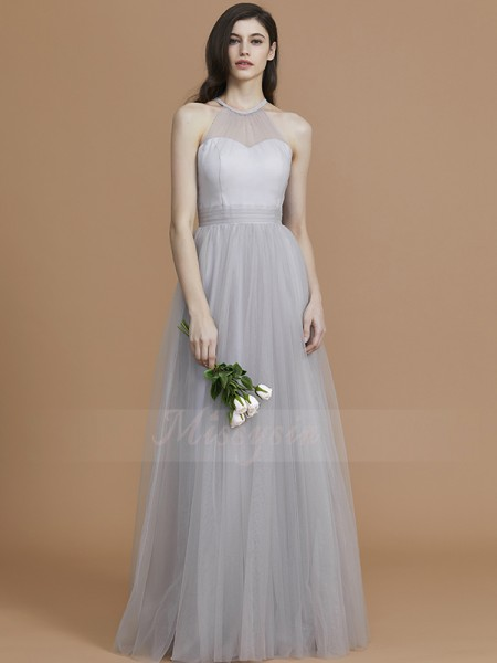 A-Line/Princess Floor-Length Halter Sleeveless Ruffles Tulle Bridesmaid Dresses