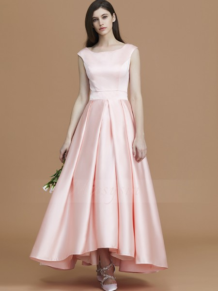 A-Line/Princess Asymmetrical Bateau Sleeveless Ruffles Satin Bridesmaid Dresses