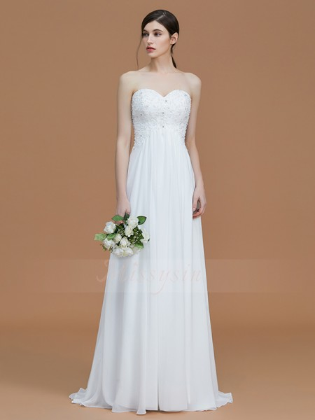 A-Line/Princess Sweep/Brush Train Sweetheart Sleeveless Beading Chiffon Bridesmaid Dresses
