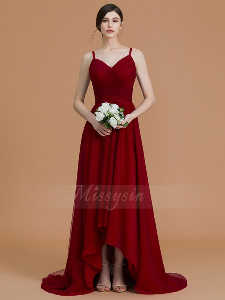 A-Line/Princess Asymmetrical Spaghetti Straps Sleeveless Ruffles Chiffon Bridesmaid Dresses