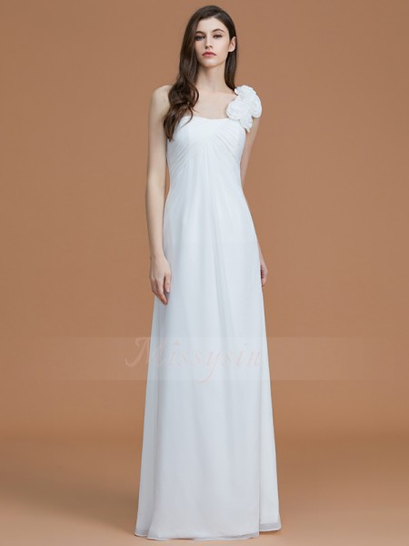 A-Line/Princess Floor-Length One-Shoulder Sleeveless Hand-Made Flower Chiffon Bridesmaid Dresses
