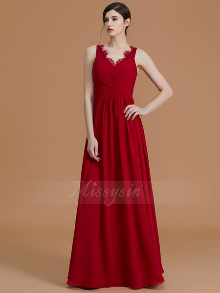 A-Line/Princess Floor-Length V-neck Sleeveless Ruffles Chiffon Bridesmaid Dresses