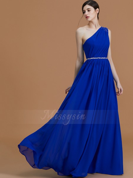 A-Line/Princess Floor-Length One-Shoulder Sleeveless Beading Chiffon Bridesmaid Dresses