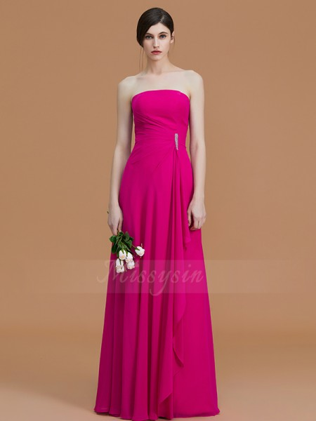 A-Line/Princess Floor-Length Strapless Sleeveless Ruffles Chiffon Bridesmaid Dresses