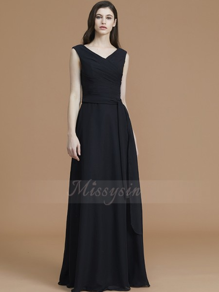 A-Line/Princess Floor-Length V-neck Sleeveless Sash/Ribbon/Belt Chiffon Bridesmaid Dresses