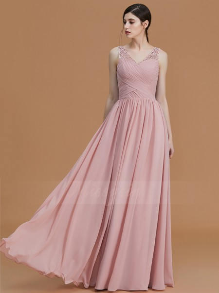 A-Line/Princess Floor-Length V-neck Sleeveless Beading Chiffon Bridesmaid Dresses