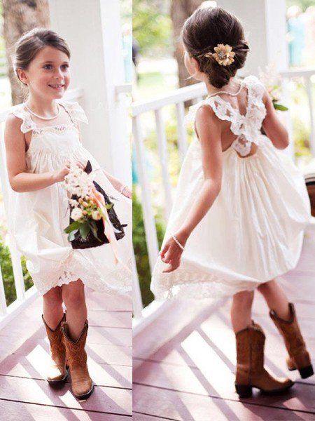 A-Line/Princess Sleeveless Square Knee-Length Chiffon Flower Girl Dresses