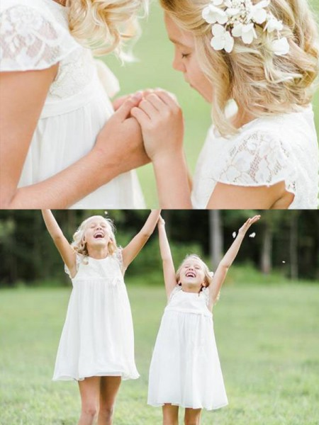 A-Line/Princess Short Sleeves Scoop Knee-Length Chiffon Flower Girl Dresses