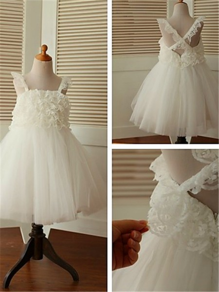 A-line/Princess Sleeveless Straps Ruffles Tea-Length Organza Flower Girl Dresses