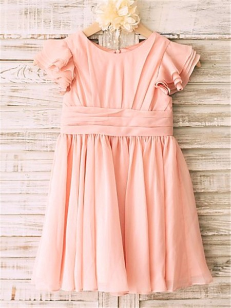 A-line/Princess Short Sleeves Chiffon Scoop Tea-Length Flower Girl Dresses