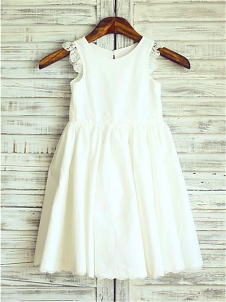 A-line/Princess Sleeveless Chiffon Scoop Tea-Length Flower Girl Dresses