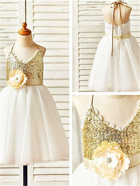 A-line/Princess Sleeveless Tulle Halter Tea-Length Sequin Flower Girl Dresses