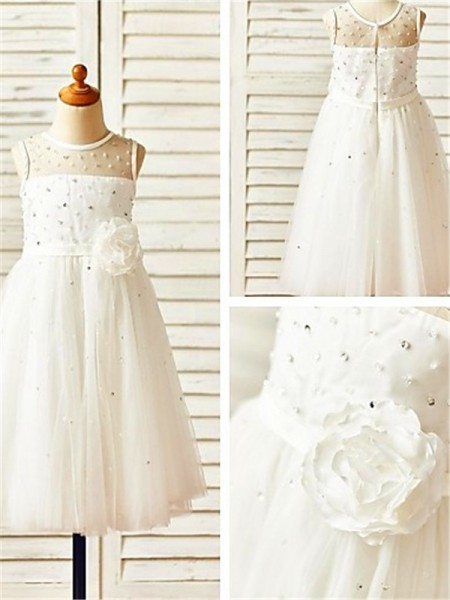 A-line/Princess Scoop Sleeveless Tea-Length Hand-made Flower Tulle Flower Girl Dresses