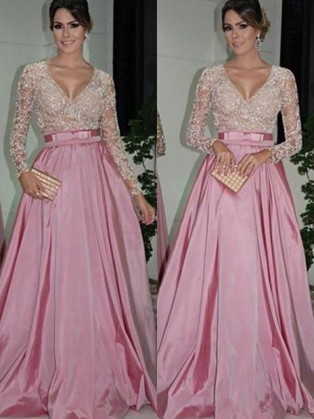 A-Line/Princess V-neck Long Sleeves Floor-Length Satin Dresses