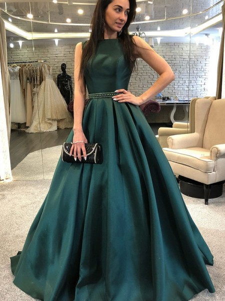 A-Line/Princess Bateau Sleeveless Beading Sweep/Brush Train Satin Dresses