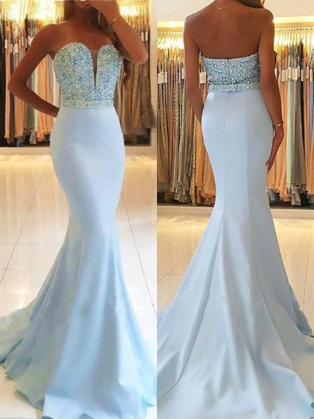 Trumpet/Mermaid Sweetheart Sleeveless Beading Sweep/Brush Train Satin Dresses