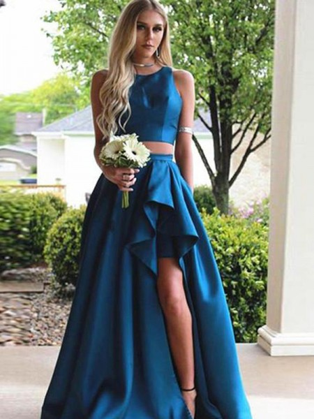 A-Line/Princess Scoop Sleeveless Ruffles Sweep/Brush Train Satin Dresses