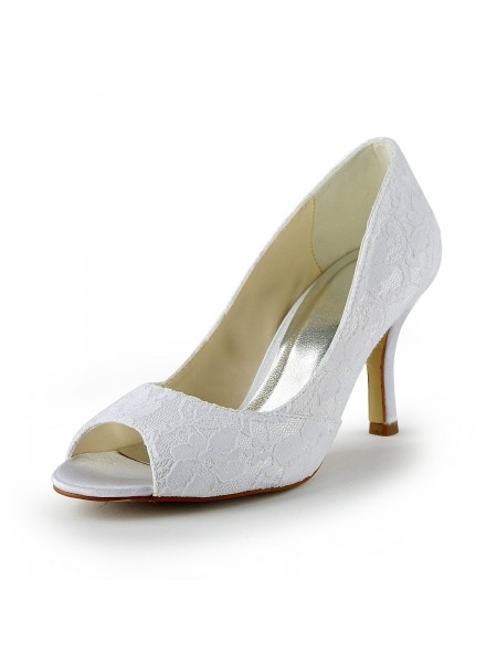 Women's Lace Satin Stiletto Heel Peep Toe Sandals White Wedding Shoes
