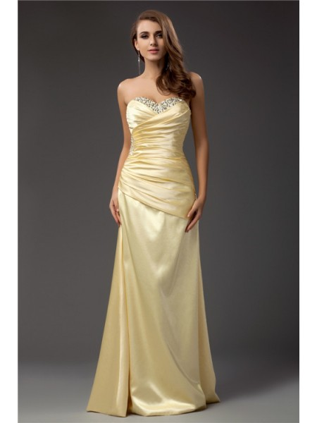 Sheath/Column Sweetheart Floor-Length Pleats,Beading Sleeveless Taffeta Dresses