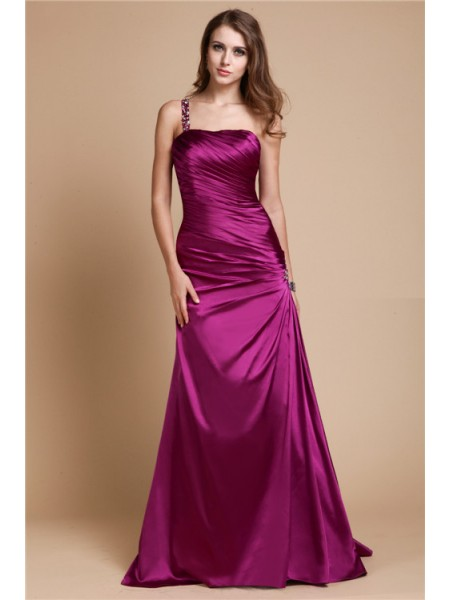 A-Line/Princess One-Shoulder Floor-Length Beading Sleeveless Elastic Woven Satin Dresses