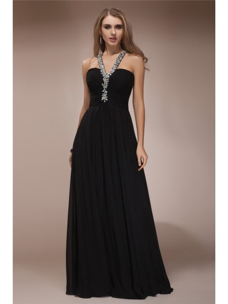 Sheath/Column Halter Floor-Length Beading Sleeveless Chiffon Dresses